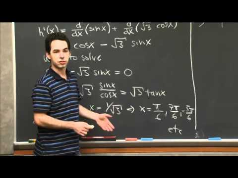 Derivatives of Sine and Cosine | MIT 18.01SC Single Variable Calculus, Fall 2010