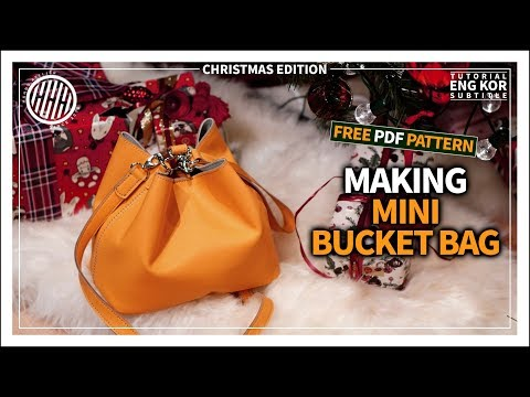 [Leather Craft] Making Mini Bucket bag / Simple bag / Christmas Present / Free pattern
