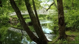 Footbridge spans the Pawcatuck River