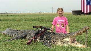 Video Une fille de 10 ans tue un énorme alligator de 400 kg avec une arbalète MP3, 3GP, MP4, WEBM, AVI, FLV Juni 2017
