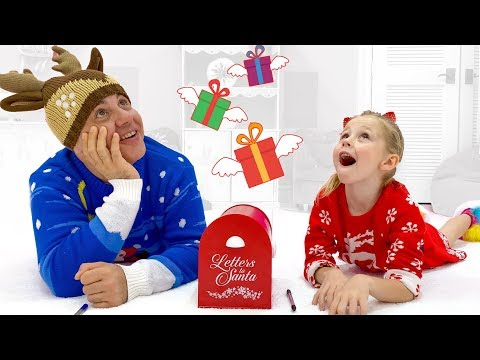 Nastya and dad open presents for Christmas