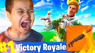 *NEW* LEGENDARY PUMP SHOTGUN COMING TO FORTNITE BATTLE ROYALE! 10 YEAR OLD BROTHER RAGES HARD!!!