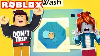 BABY TRAPPED IN WASHING MACHINE! Roblox Funny Moments! Roblox Laundromat