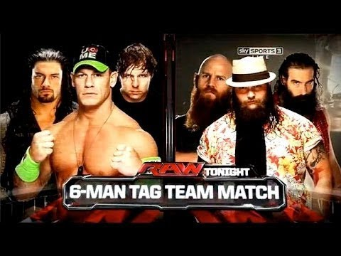 WWE John Cena, Dean Ambrose and Roman Reigns Vs The Wyatt Family RAW