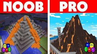 Among Us Vs Minecraft - NOOB VS PRO: SECRET VOLCANO HOUSE CHALLENGE! Minecraft Among us Animation
