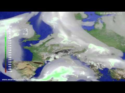 Precipitation forecast Europe 2015-10-07