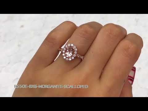 Halo Diamond Oval Morganite Ring in Rose Gold Scalloped Band