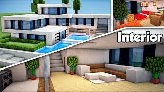 Minecraft: Large Modern house (#2) Interior Tutorial - How to build a House in Minecraft