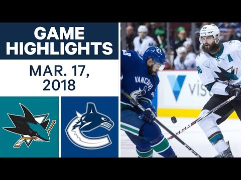 Video: NHL Game Highlights | Sharks vs. Canucks - Mar. 17, 2018