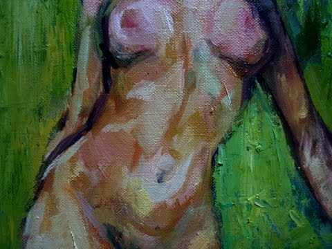 Nude Woman with Green Background (oil painting) by Kadar A Tibor