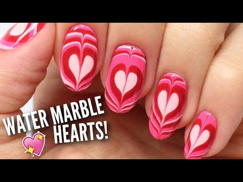 nail art - water marble heart