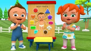 Little Baby & Girl Learning Body Parts with Color Shapes Wooden Toy Set 3D Kids Fun Play Educational