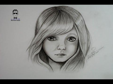 تعلم الرسم بالفحم رسم وتخطيط طفلة بالفحم drawing charcoal
