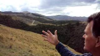 Hear Rob Smith describe the efforts to protect biodiversity in the Waimate foothills. See Waimate and the Pacific Ocean from atop the Hunter Hills.