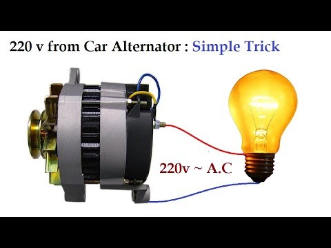 220v to 300v AC from 12v Car Alternator at Low RPM Amazing Idea !