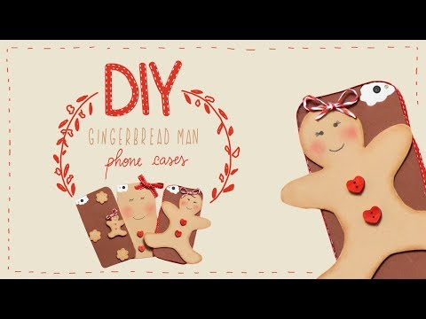 DIY 3 Easy Christmas GINGERBREAD MAN PHONE CASES (How to Make, Tutorial)