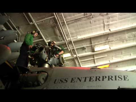 Aircraft maintenance aboard USS Enterprise