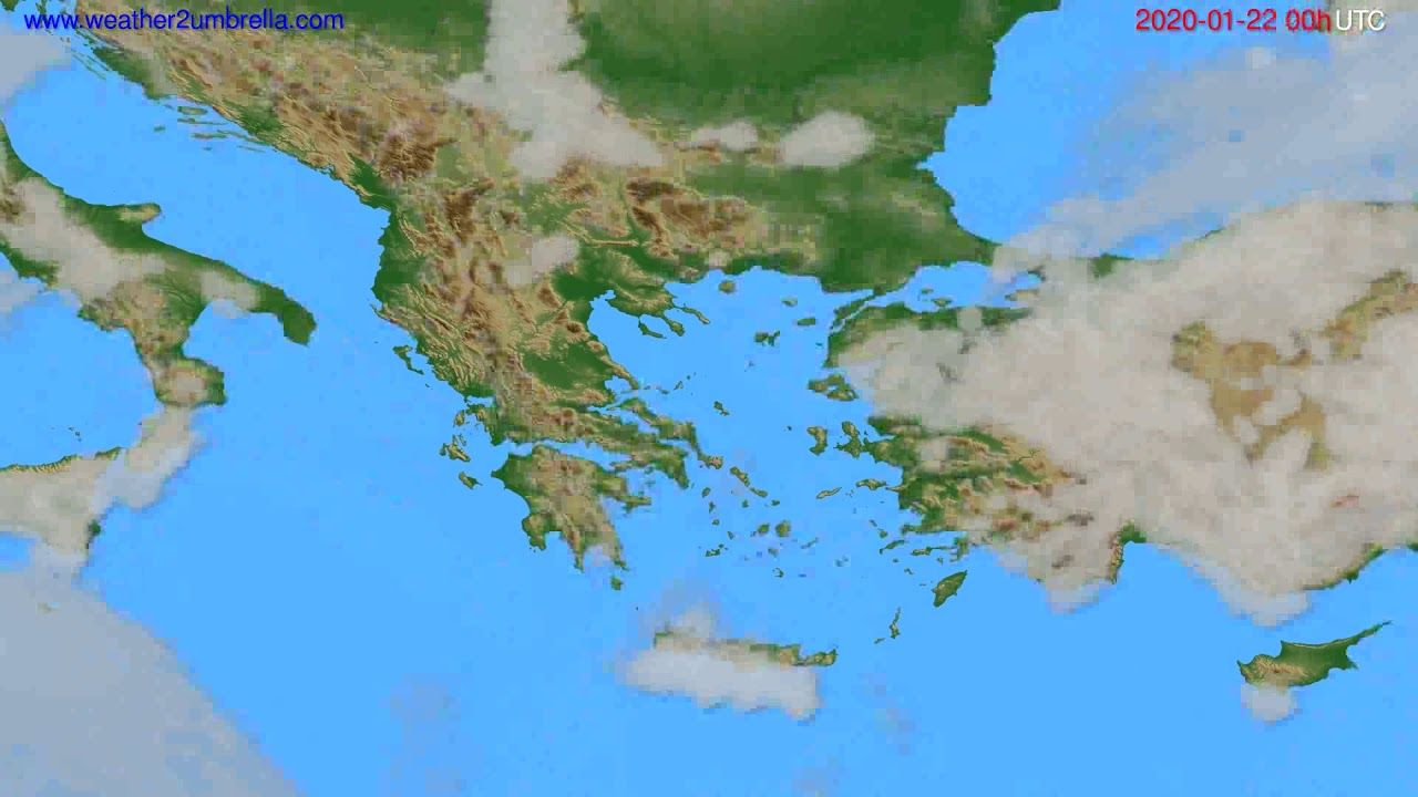 Cloud forecast Greece // modelrun: 00h UTC 2020-01-21