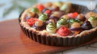 Hartige taart met groentenrozen