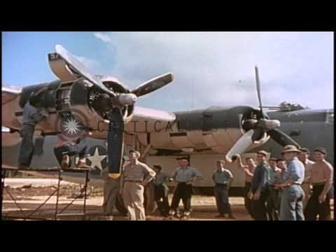US Army Air Forces B-24 aircraft being repaired for invasion of Iwo Jima, Japan d…HD Stock Footage