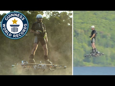 Watch this man set the world record for farthest hoverboard flight
