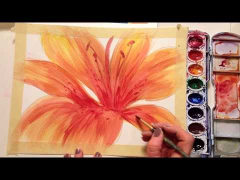 flower painting - This tutorial will guide step by step in drawing and painting a flower with watercolor. No painting or drawing experience necessary. All you need is some wat...