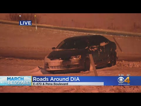 Rough Going On Roads Around Denver International Airport, Some Cars Stranded
