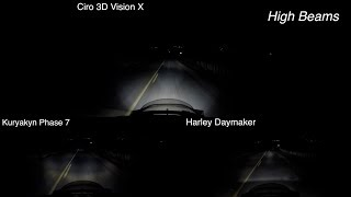 """I installed and tested 3 of the best & most commonly known LED headlights for Harley-Davidson motorcycles in this video.  I tested these motorcycle headlights in a real world biker environment.  I filmed the results & am sharing my findings with you in this comparison video. There are an array of LED headlights for Harley's in the marketplace, but not all are that good. We all know the stock halogen headlights on Harley's lack in brightness, but there are exceptions depending on what Harley model you get. Some models are coming with Harley Daymaker LED headlights now.CHECK MY VLOG HERE W/ MORE INFO ABOUT THESE LED HEADLIGHTS: https://youtu.be/h4RhqF4-lC0?list=PL4h75QClVvqPgMQV7VAyPxoPCzoceb3qZ**Listed in order of my favorite to least favorite based on my real world testing**1. VISION X XMC 7"""" HEADLIGHT LED (By Ciro 3D) ($420)2. HARLEY DAYMAKER PROJECTOR LED HEADLAMP ($525)3. KURYAKYN PHASE 7 LED HEADLAMP ($270)GET A CIRO 3D VISION X LED HEADLIGHT IN OUR OFFICIAL LAW ABIDING BIKER STORE AND SUPPORT US: https://shop.lawabidingbiker.com/collections/lighting-1/products/ciro-3d-vision-x-led-lightingGET A CIRO 3D WIRE ADAPTOR CONVERSION FROM TWO PLUG HALOGEN TO SINGLE PLUG LED: https://shop.lawabidingbiker.com/collections/lighting-1/products/ciro-3d-vision-x-led-lighting?variant=35506333009BECOME A PATRON MEMBER AND GET BENEFITS: https://www.patreon.com/scrappyGO TO THE OFFICIAL LAW ABIDING BIKER STORE: https://shop.lawabidingbiker.comKuryakyn Phase 7 LED Headlamp Adapter Harness For Harley Touring / Trike 2014-2017: http://www.anrdoezrs.net/links/7071126/type/dlg/https://www.revzilla.com/motorcycle/kuryakyn-headlamp-adapter-harness-for-harley-touring-trike-2014-2017KURYAKYN PHASE 7 LED HEADLIGHT AFFILIATE LINKS: REVZILLA: http://bit.ly/2sznGRJJ&P CYCLES: https://goo.gl/ffaVcq#1-VISION X XMC 7"""" HEADLIGHT LED (By Ciro 3D)The Ciro 3D Vision X is my favorite and came in first place for many reasons. I really like the look of the headlight when off & it looks even better when"""