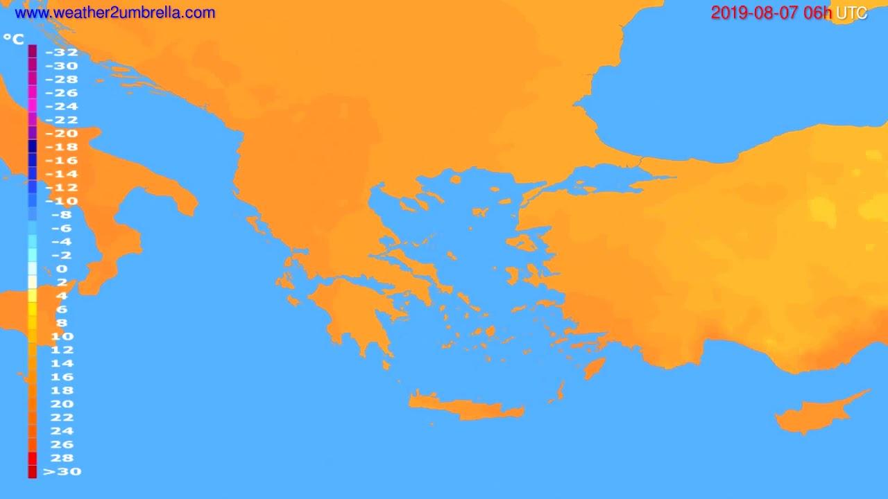 Temperature forecast Greece // modelrun: 00h UTC 2019-08-05