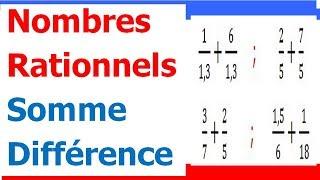 Maths 4ème - Les nombres rationnels Somme et Différence Exercice 1