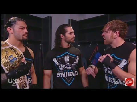Roman Reigns Dean Ambrose and Seth Rollins at Raw Backstage.
