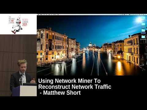 Frame from a video of the author delivering a talk on Using Network Miner To Reconstruct Network Traffic