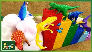 Video Funny Diving into a Bubble Pool. Making a Block Tower with Dinosaur Toys - Dino Mecard videoㅣJefeToy MP3, 3GP, MP4, WEBM, AVI, FLV Maret 2019
