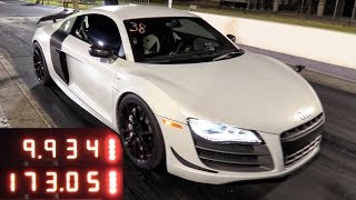 WATCH THIS - Audi R8 Rockets Down the 1/4 Mile by High Tech Corvette