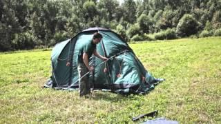 Четырехместная кемпинговая палатка с двумя спальнями и тамбуром посередине. Alexika Indiana 4