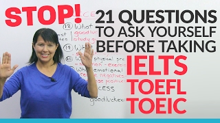 Need to take IELTS, TOEFL, or TOEIC? Start here! This video is like a free consultation with an experienced exam advisor. I have over 30 years of English training experience and have helped thousands of students pass their exams, so I know what you need to focus on, and I know what can hold you back. In this video, I'll ask you questions that will help you:• decide WHICH English proficiency test is best for you• plan HOW MUCH TIME you need to prepare• budget for the COSTS of the examsI'll also share my secrets to succeeding on these English proficiency tests, and let you know what resources I recommend to start studying. By the end of this video, you'll know what to expect and be able to create your own plan for success.http://www.goodluckielts.comhttp://www.goodlucktoefl.comhttp://www.goodlucktoeic.comhttp://www.goodluckexams.comhttp://www.studyingstyle.comTRANSCRIPTHi. I'm Rebecca from engVid. Have you just been told that you need to do an English proficiency exam, such as the IELTS or the TOEFL or the TOEIC, or are you in the middle of preparing for one of these exams or some other English proficiency exam? If so, please watch this lesson because I think it can really help you. What I'm going to do here is I'm going to go over some of the very important questions that you need to be asking yourself in order to prepare very well and very effectively for this exam. And it's much more than just studying English. All right?So, what am I going to cover here? I'm going to cover four different areas. First the basics of: What are the things you need to know about the test? The logistics, or the planning that you're going to have to do in order to be very successful. The progress, how to measure it, how to tell, how to actually make progress towards your goal. And last of all, what can you do, what else can you do to really achieve great success? And that is a lot more than just doing English or just studying English, or improving your English.Now, a lot of this knowledg