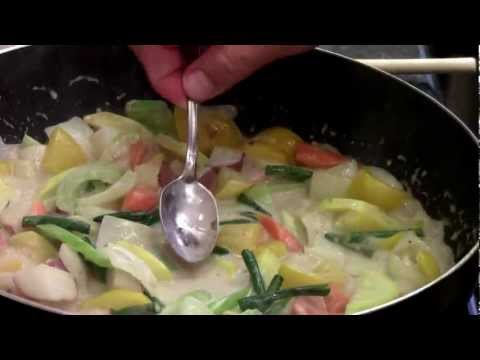 How to make green curry with mixed vegetables