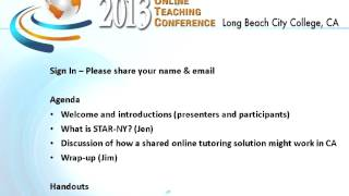 Sharing Online Student Services in New York and California (OTC13)