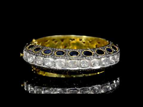 925 Silver with Gold Plated Polki Diamond and Sapphire Bangle