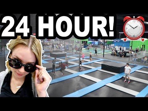 24 HOUR TRAMPOLINE PARK CHALLENGE!!! (видео)