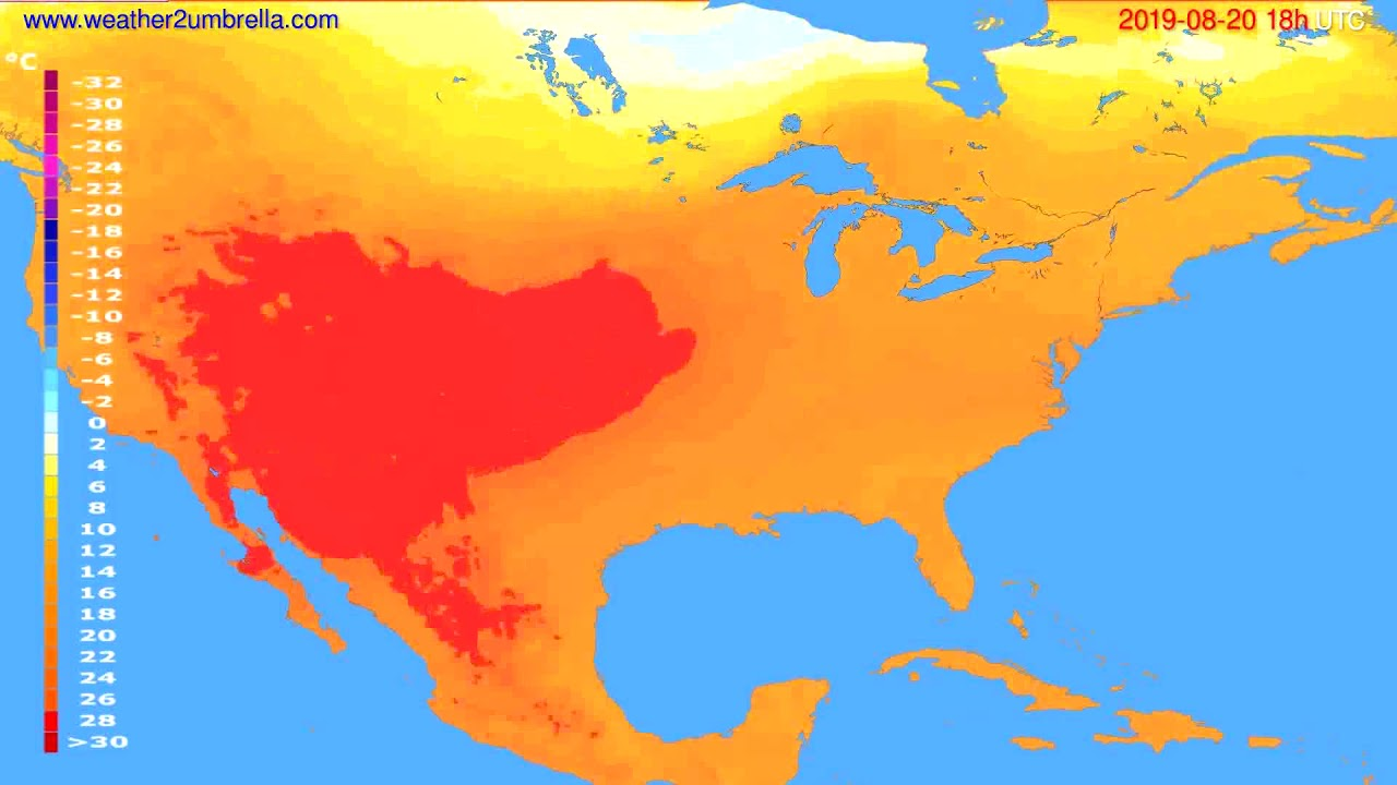 Temperature forecast USA & Canada // modelrun: 00h UTC 2019-08-18