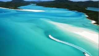 A series of aerial shots from above Whitehaven Beach, Whitsunday Island, from tropical north Queensland, Australia.