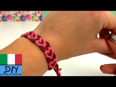 macramè - bracciale con cuori alternati
