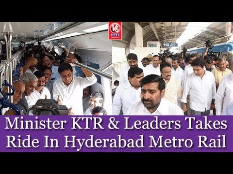 Minister KTR & Leaders Takes Ride In Hyderabad Metro Rail