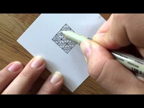 """Zentangle®  Muster: """"B-Twined"""" with Bunte Galerie"""