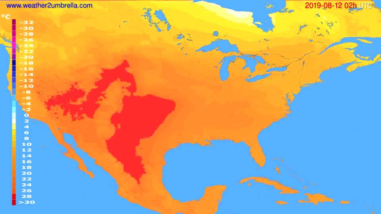 Temperature forecast USA & Canada // modelrun: 00h UTC 2019-08-10