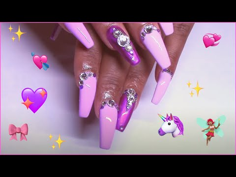 Spring Has Sprung, Purple Bling Coffin Set  Refill & Redesign Acrylic Nails
