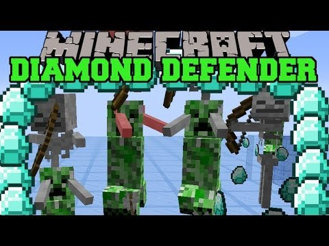 Minecraft diamond defender beat creepers with sticks to protect