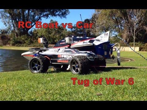 RC Boat vs RC Car Tug of war 6