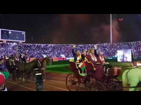 Oman's victorious national football squad members were carried around the Sultan Qaboos Sports Complex party in horse drawn carriages.